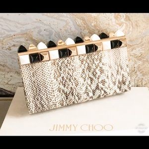 Jimmy Choo Cayla Python Two Tone Studded Clutch